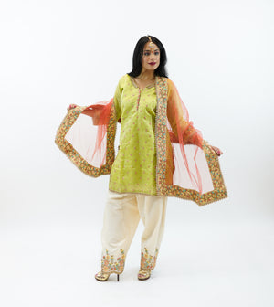 Silk Emerald Green Embroidered Salwar Kameez