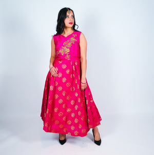 Silk Brocade With Embroidered Mazenta Gown