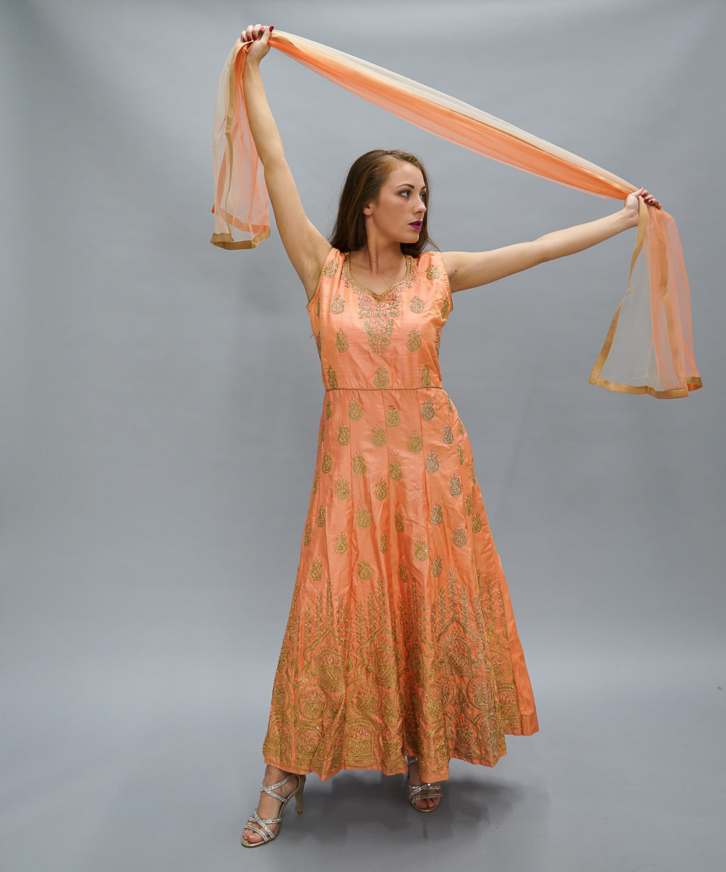 Silk Salmon Pink  Embroidered Gown