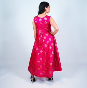Fuchsia with Gold Embroidery Silk Gown