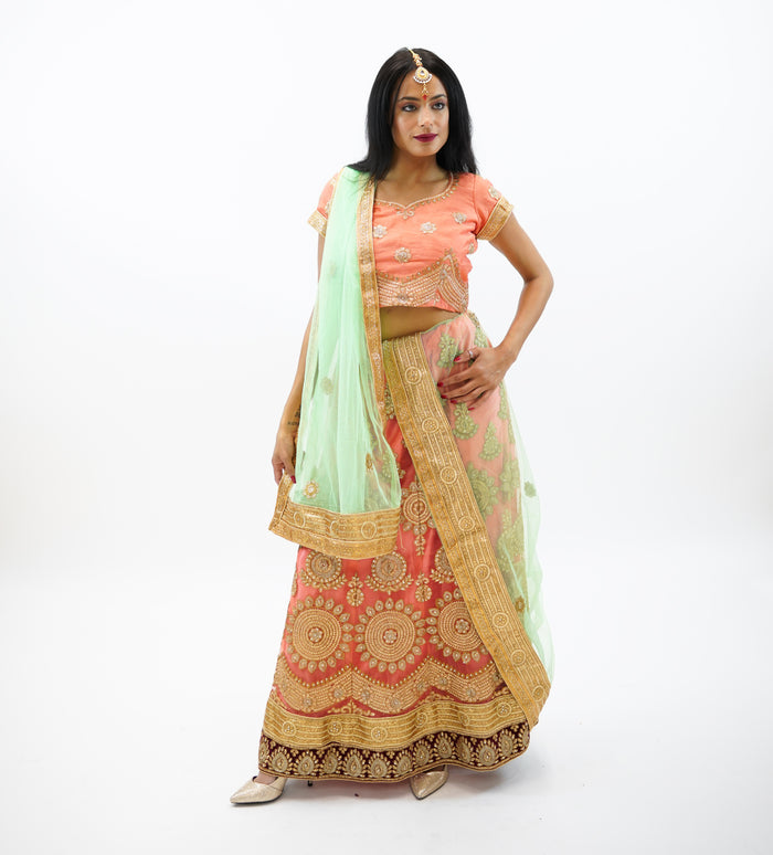 Silk Tangerine Orange With Maroon Trim  Embroidered Lehenga
