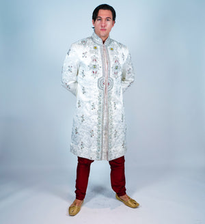Royal White Silk Embroidered with Jewel Work Sherwani