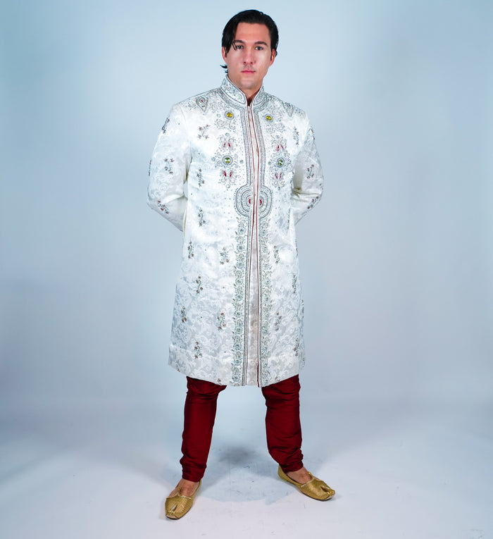 Silk Bone White  Embroidered with Jewel Work Sherwani