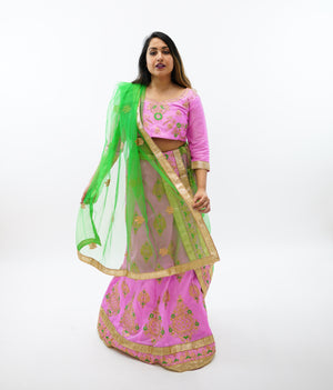 Silk Light Bubblegum Pink Embroidered Lehenga
