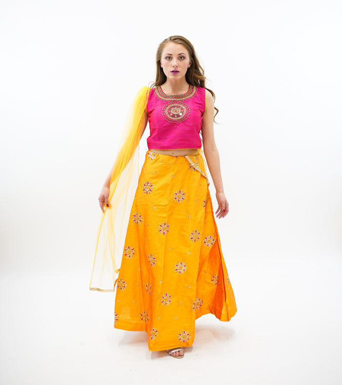 Silk Apricot Orange Embroidered Lehenga