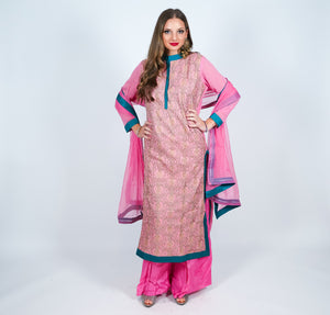 Silk Pink Embroidered Salwar Kameez