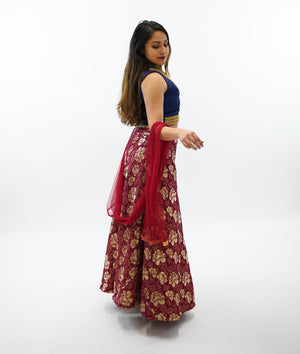 Silk Brocade Berry Red Lehenga