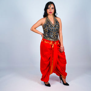 Silk Orange Dhoti Pants