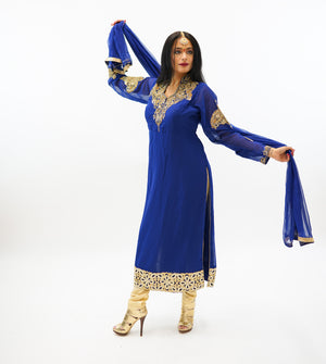Georgette Oxford Blue Embroidered Salwar Kameez