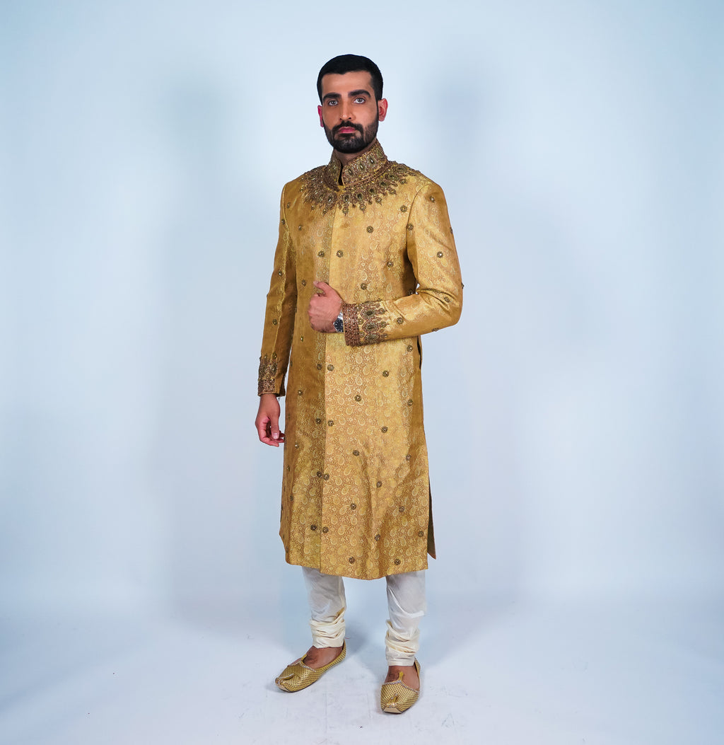 Regal Gold Embroidered with Jewels Sherwani