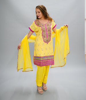 Silk Georgette Dandelion Yellow Embroidered Salwar Kameez