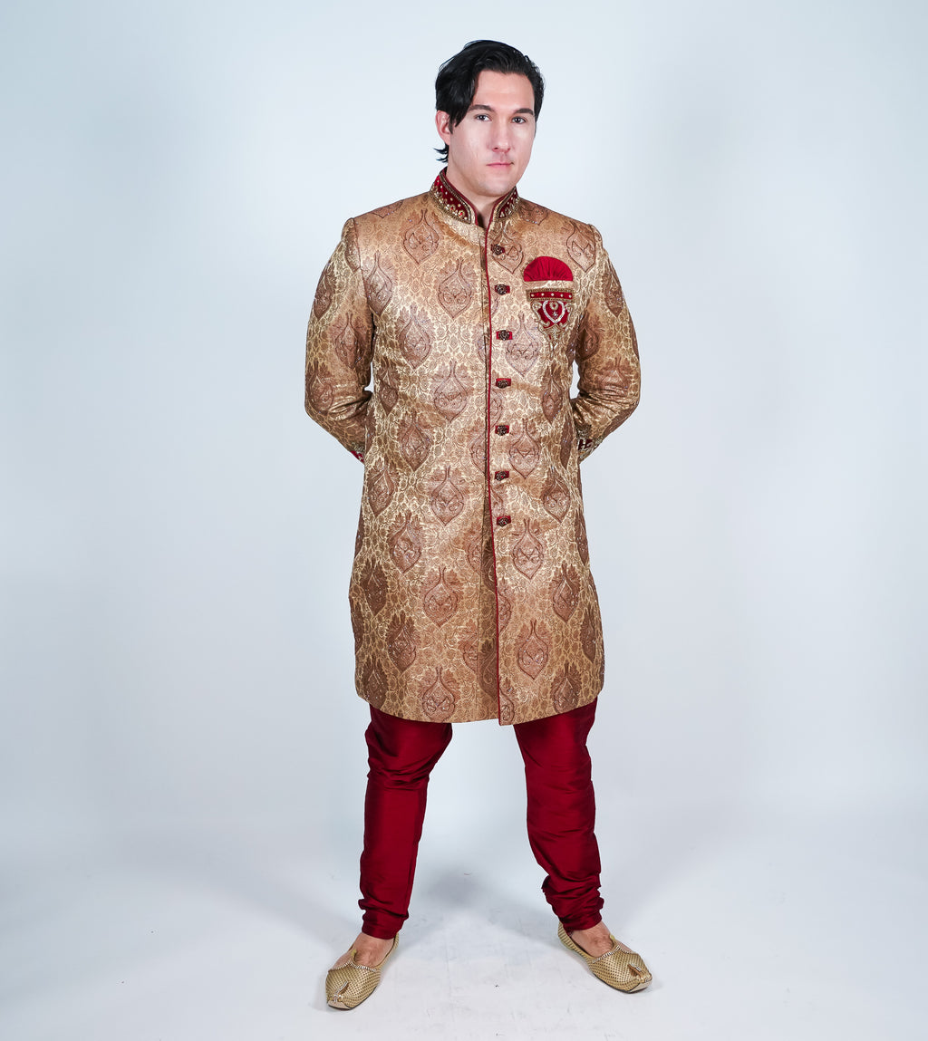 Maroon Rich Gold Brocade Sherwani