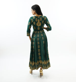 Cotton Hunter Green with Gold Block Printed  Gown
