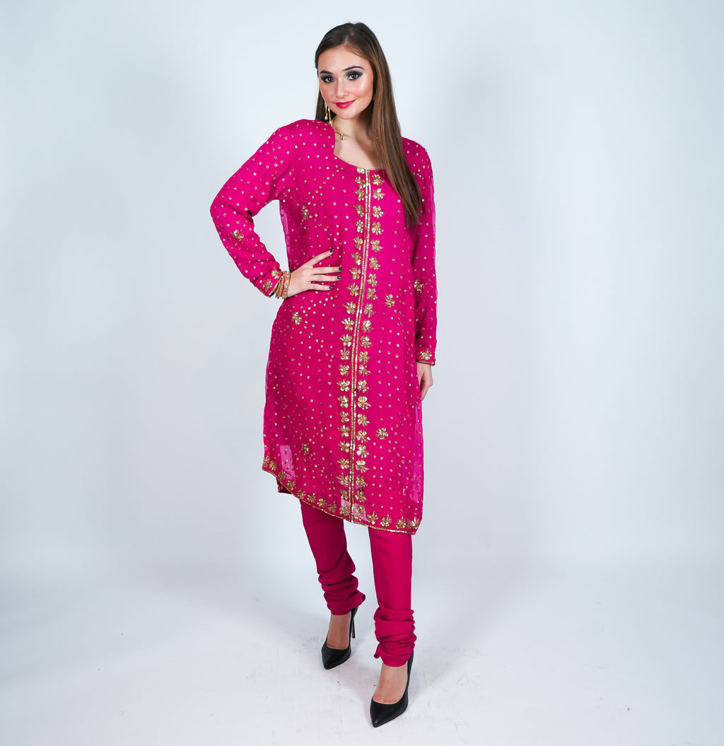 Silk Fuchsia Embroidered Salwar Kameez
