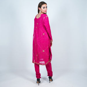 Silk Georgette Fuchsia Embroidered Salwar Kameez