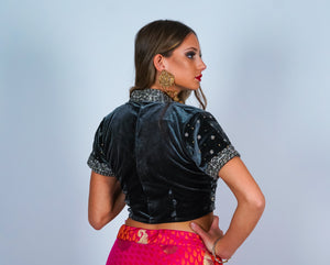 Velvet Smoky Gray with Silver Embroidery work Crop Top