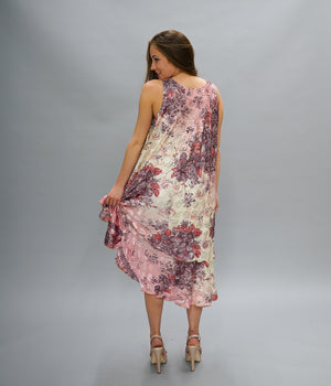 Silk Peachy Pink Printed Gown