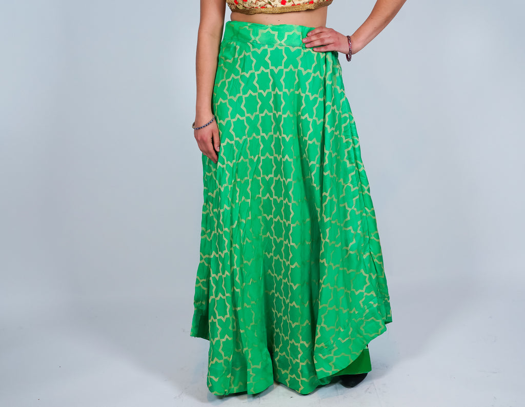 Silk Light Green Brocade Skirt