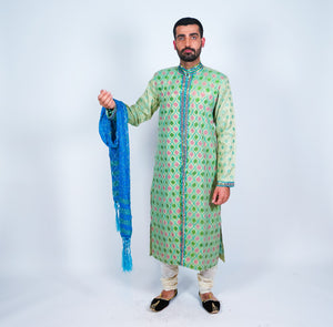 Mint Green Silk Embroidered  Sherwani