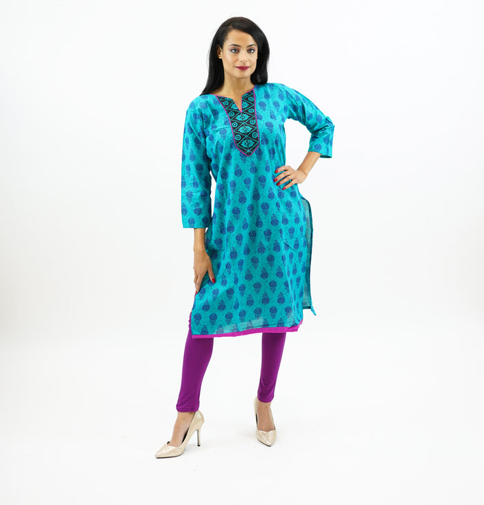 Cotton Block Printed Light Pine Green kurta