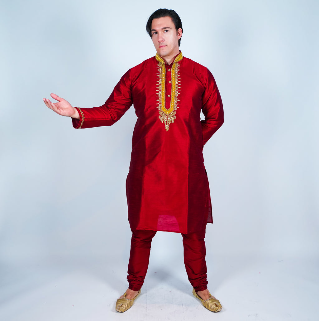 Silk Carmine Red Men's Kurta
