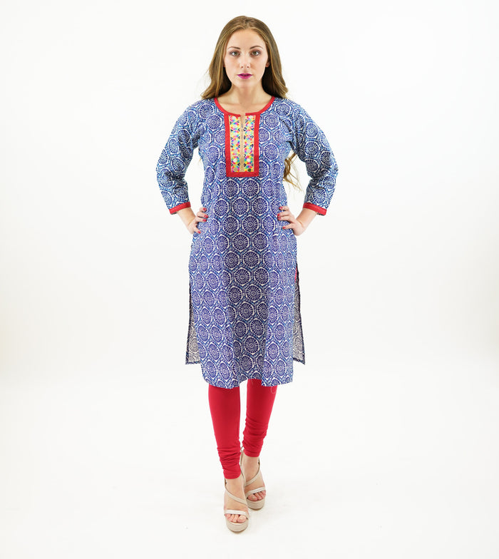 Block Printed With Mirror Work On Neckline Cotton Kurta
