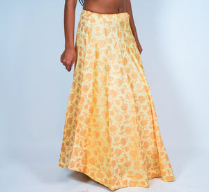Cream Silk Floral Brocade Skirt