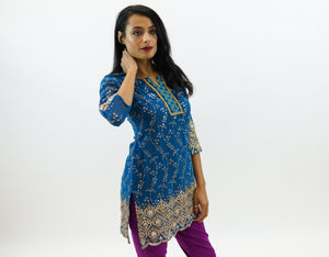 Cotton Chiffon Dark Turkish Blue Embroidered Kurti
