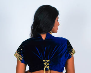 Velvet Smoky Blue with Gold & Mud Orange Embroidery Crop Top