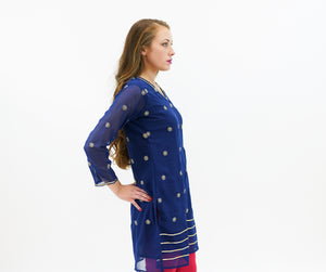 Chiffon Space Blue Embroidered Kurti