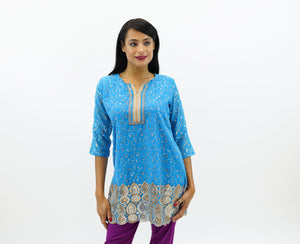 Cotton Chiffon Olympic Blue Embroidered Kurti