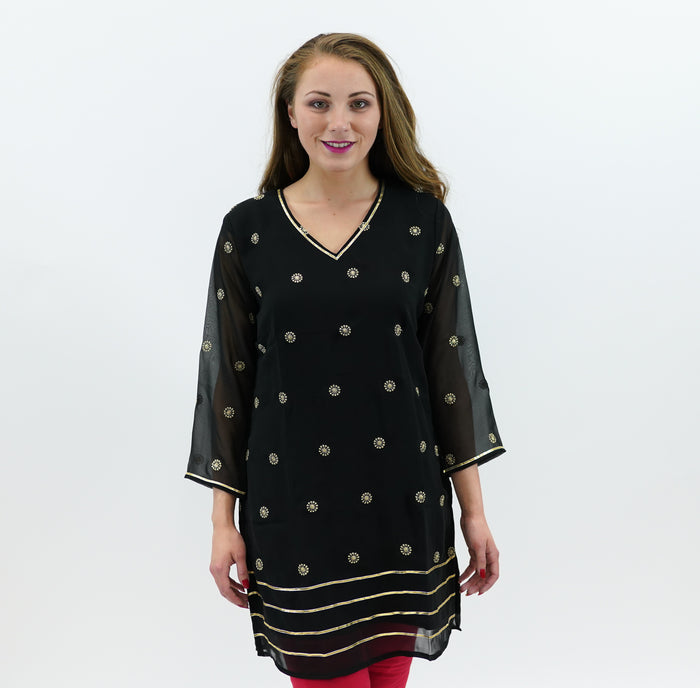 Chiffon Black With Gold Embroidered Kurti