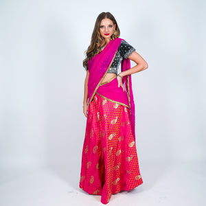 Silk Fuchsia Two Tone Brocade Skirt