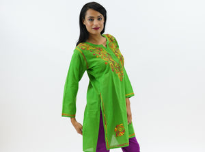 Cotton Kelly Green Embroidered Kurti