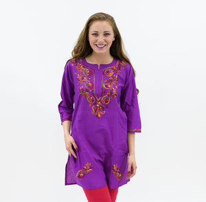 Cotton Byzantine Purple Embroidered Kurti