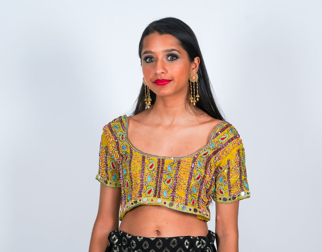 Multicolor Rare Silk Jeweled Crop Top