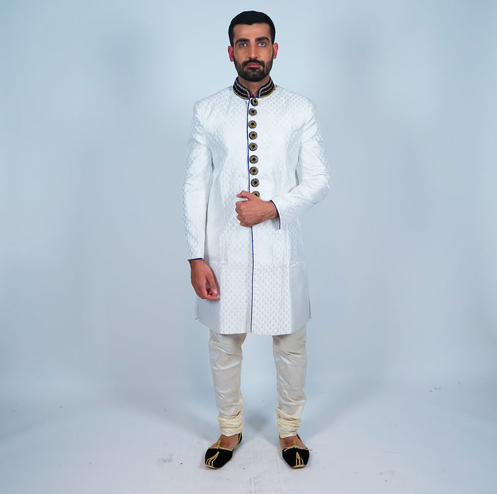 White with Black Velvet Trim  Brocade Silk Bandhgala Sherwani