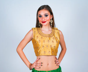 Gold Sleeveless with Gold Accent Embroidery Crop Top