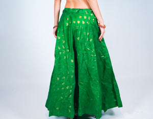 Silk Olive Green Brocade Skirt