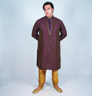 Silk Purple Men's Kurta