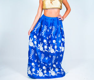 Blue Embroidered Silk Skirt