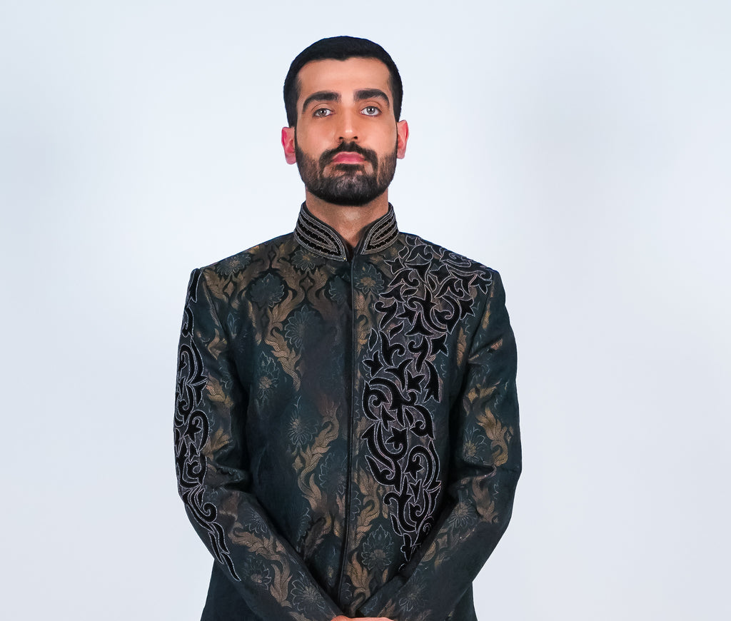 Charcoal Black Embroidered Bandhgala Sherwani