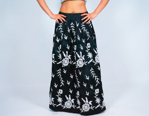 Silk Black with White Embroidered Skirt