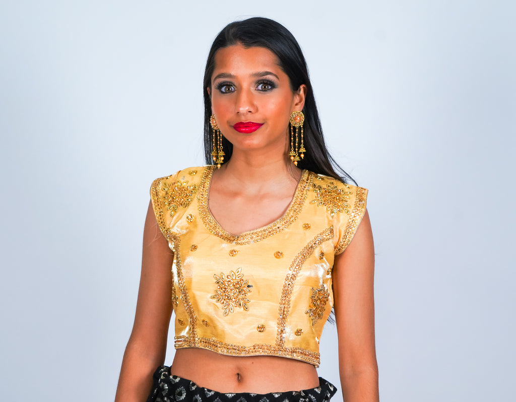 Gold with Light Gold Embroidery Crop Top