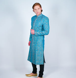 Baby Blue Embroidered Sherwani with Gold Accents