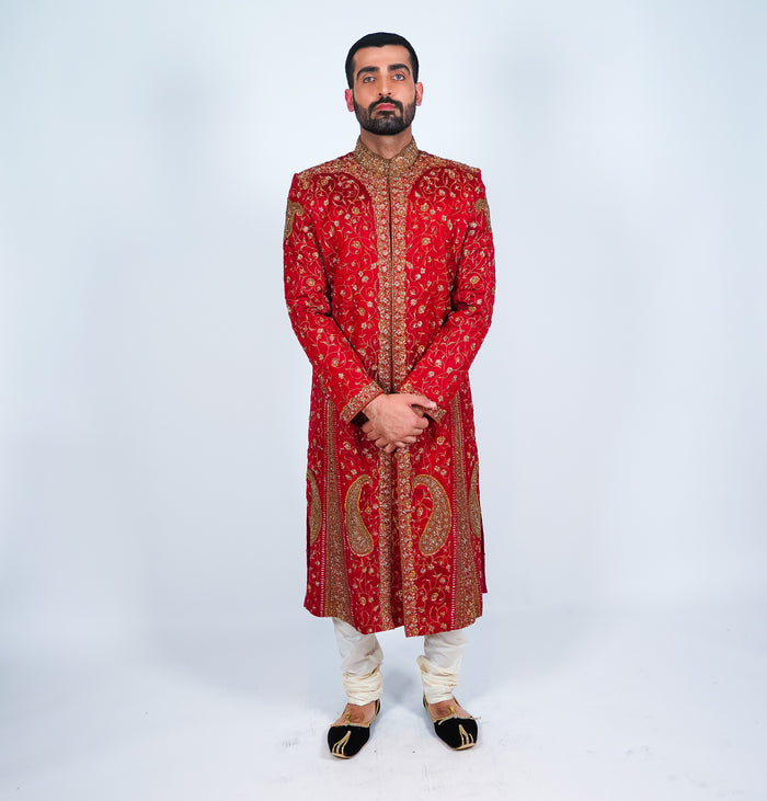 Crimson Gold Accents Embroidered Sherwani