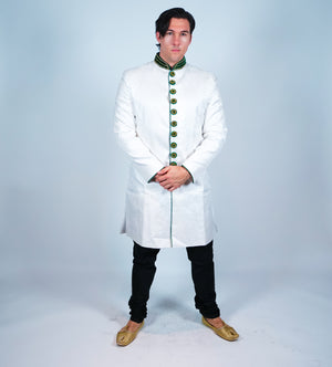 White Brocade with Green Velvet Trim Bandhgala Sherwani