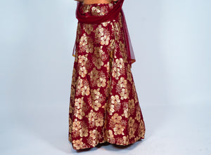 Silk Maroon Floral Brocade Skirt