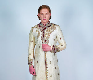 Silk Gold Embroidered Sherwani