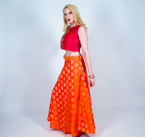Silk Orange Brocade Skirt